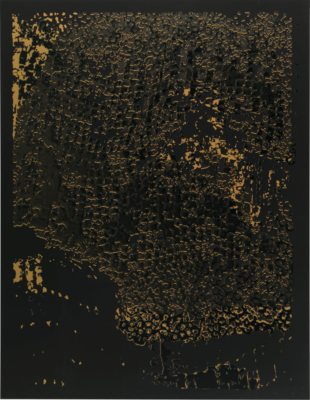 "El Anatsui: ""Untitled [Black Edge with Pearl]"""