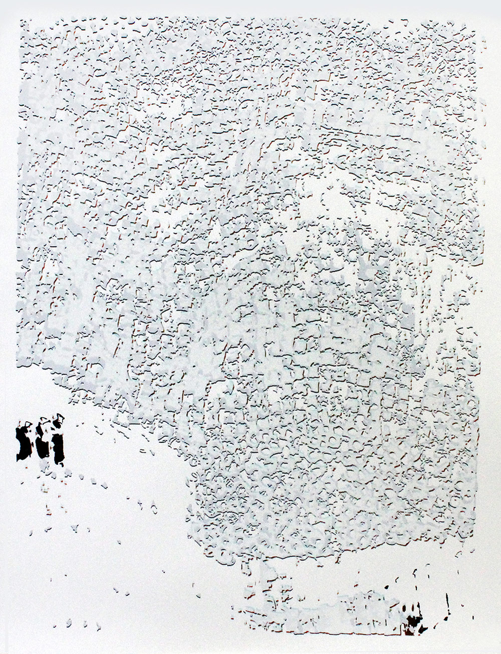 """El Anatsui: """"Untitled [White with Black]"""""""