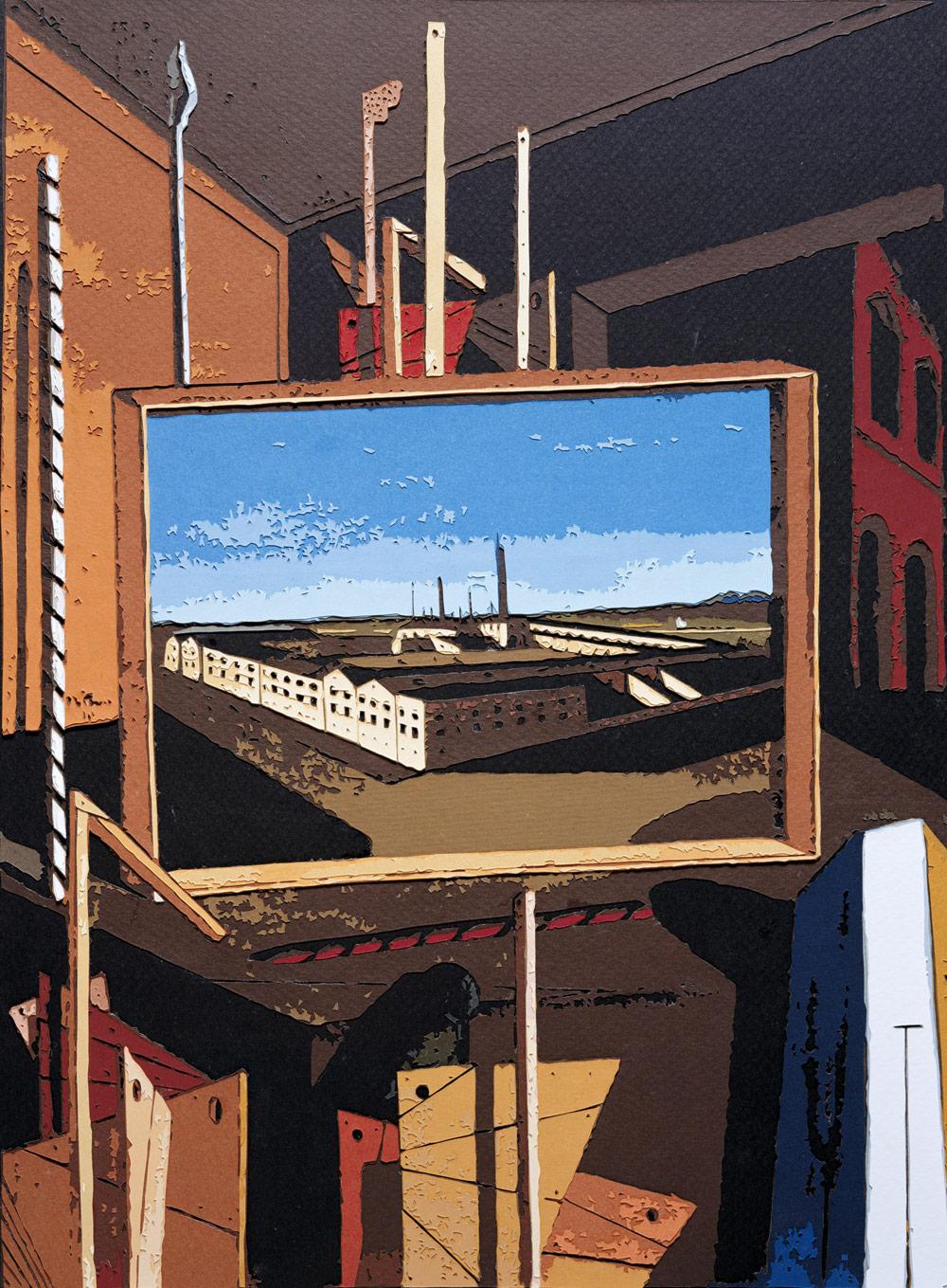 "Vik Muñiz ""Metaphysical Interior with Large Factory, after Giorgio de Chirico"""