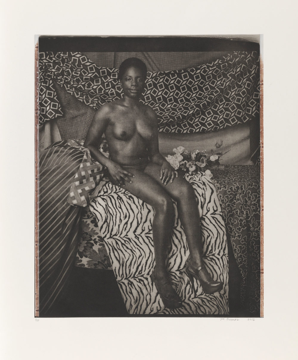 """Mickalene Thomas: """"Portrait of Marie Sitting in Black and White"""""""